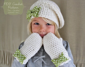 2 Crochet Patterns: The Beau Beret and Dot Mittens Set -Toddler, Child, & Adult Sizes- bow scallop feminine felt polka dot slouchy tam
