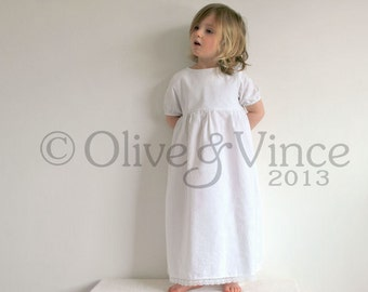SALE - Nightie short sleeve organic toddler dress nightie christening naming wedding flower girl gown nightdress cotton girls sleepwear