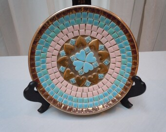 "Vintage 60's ""Valentine's Heart"" Tile Mosaic  Plate in Gold-Pink and Blue Unique Gift Plate 8"" round"