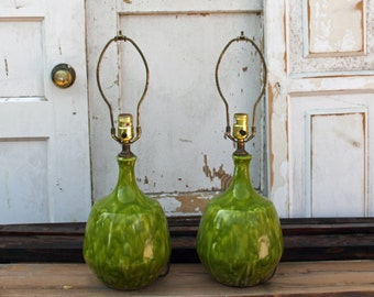Mid-Century Modern Pottery Lamps Chartreuse Drip Glaze Pair of Ceramic Vintage Lamps  By Foo Foo La La