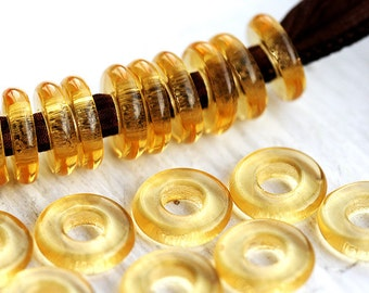 Donut beads, Glass ring, Czech beads - Amber topaz - round, flat, for leather cord  - 10mm, hole size 4mm - 20Pc - 2207