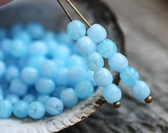 Mixed Blue czech glass beads, round spacers, sky blue, druk - 4mm -  approx.80Pc - 0107