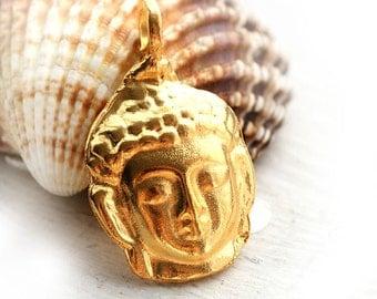 Buddha face, metal pendant, Golden, gold buddha charm, Lead Free, large - F184