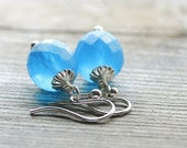 Sky Blue Earrings:  Frosted Czech Glass with Sterling Silver