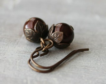 Maroon Pearl Earrings: Dark Swarovski Crystalized Element Drops with Antiqued Brass, Autumn Jewelry