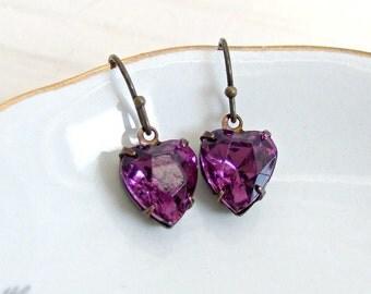 Purple Heart Earrings .. glass heart earrings, vintage glass earrings,