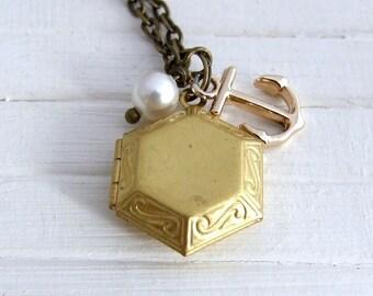Anchor Locket  ..  brass locket, geometric locket, small locket, nautical, maritime, sailor