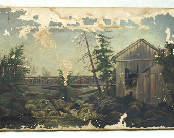 Antique Mill and River Painting, Civil War era, 1860s, primitive art, folk art painting