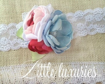 Lula Pearl Headband - Baby Blue, Red, Pink, White Satin Flower Headband, Satin and Lace Headband, Satin, Lace, Swiss dot, and Seersucker