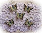 Reneabouquets Tiny Treasures Handcrafted Premium Paper Butterfly Set-  Secret Garden Glitter Glass Butterflies
