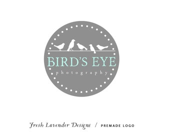 Custom Logo Design  Personalized Premade Logo & Watermark Design for Photographers and Small Businesses Grey Circle Frame Birds on a Wire