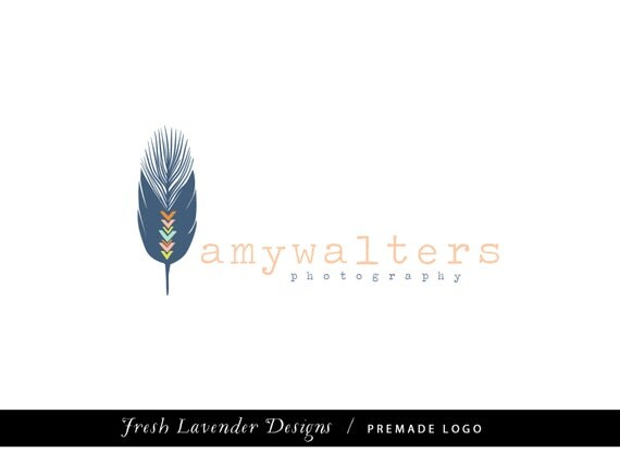 Custom Logo Design Premade Logo Design for Photographers and Small Crafty Businesses hand Drawn Bohemian Feather with Stamp Text  Tribal