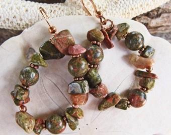 Unakite Gemstone Beads and Chips Hoop Earrings