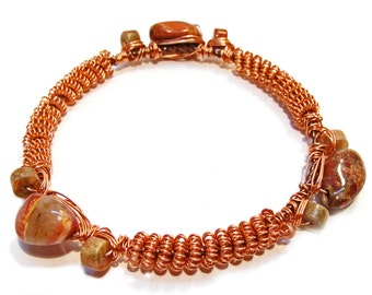 Brecciated Jasper Gemstone Copper Coil and Wire Wrapped Bangle Bracelet