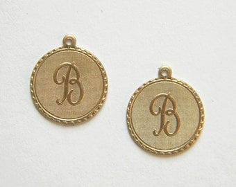 Raw Brass Letter B Charm Monogram Initial Drop 20m x 22mm - 4 pcs.(r257)