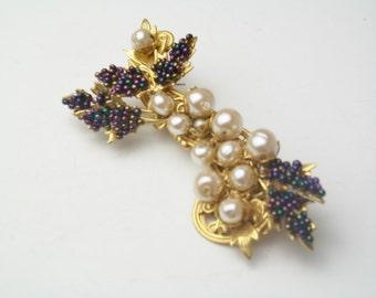 Vintage Stanley Hagler N.Y.C. Baroque Pearls Amethyst Seed Beads Gold Plate Costume Jewelry Spray Brooch Pins on Etsy