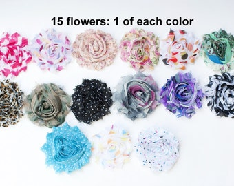 Chiffon Frayed Flowers - Fabric Flowers - Printed Shabby Flowers - Wholesale Fabric Flower Set - 15 Fabric Flowers - 1 Of Each - REGULAR