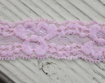 """Stretch Lace - LIGHT PINK - 1"""" Lace Elastic - Skinny Lace Elastic - Elastic Lace by the Yard - 1"""" Lace - Lace Trim - Lace for Garters"""