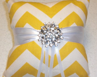 Yellow Chevron Ring Bearer Pillow