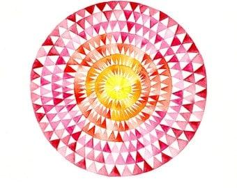 Fire Wheel circular geometric Art Print: 7x7 abstract watercolor painting