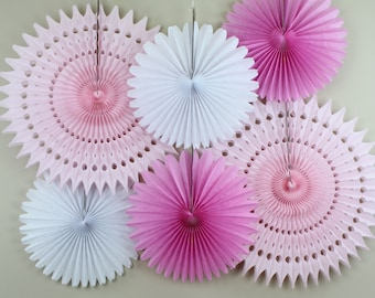 Birthday Party Decorations - 6 Tissue Paper Fans Decor Kit , baby showers, children's birthday parties , bridal showers