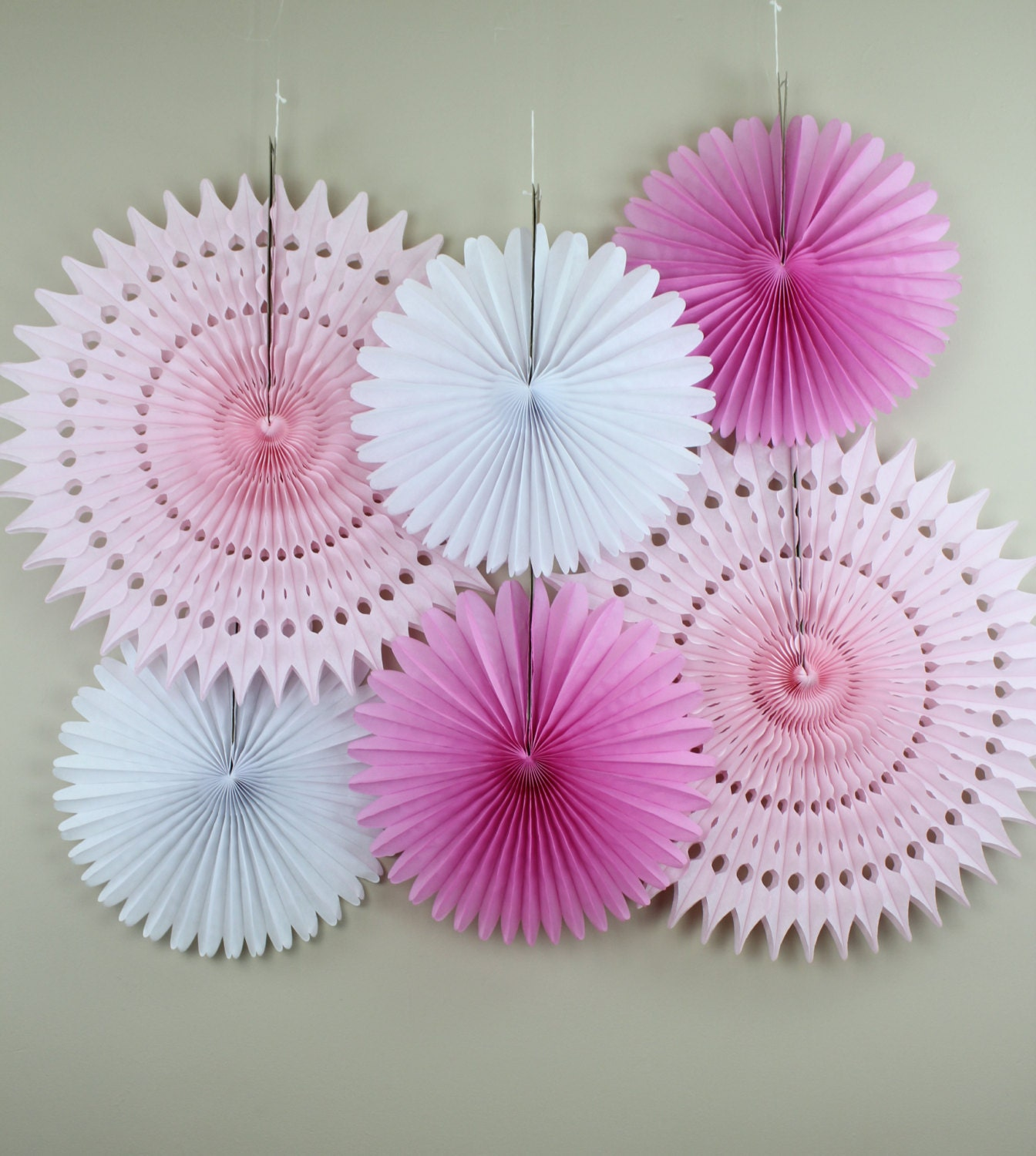 Birthday party decorations 6 tissue paper fans decor kit - Paper decoration for birthday ...