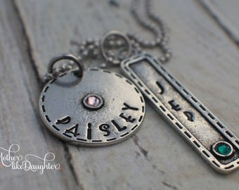 Personalized Necklace - Mom Necklace - Mommy Jewelry - Pewter Personalized Hand Stamped Necklace with Names and Birthstones Mommy Jewelry