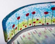 Poppy fields fused glass art wave lightcatcher suncatcher teachers gifts presents home mum mom flower garden wedding