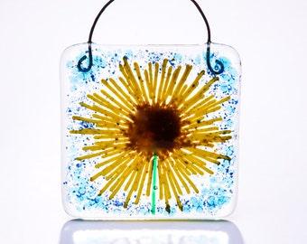 Sunflower fused glass suncatcher light catcher teacher teachers gift gifts present yellow home wedding bridesmaid bride