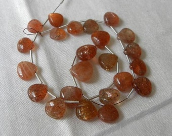 Sunstone Briolettes 3 Pcs 8-9mm Smooth Heart Drilled Sparkly Semiprecious Loose Gemstone Beads Take 20% Off Sunstone Jewelry Craft Supplies