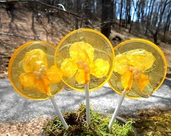 Gourmet Gift Boxed Banana Sunrise Yellow Rose Giant Lollipops Edible Petals Wedding Favors Custom Label