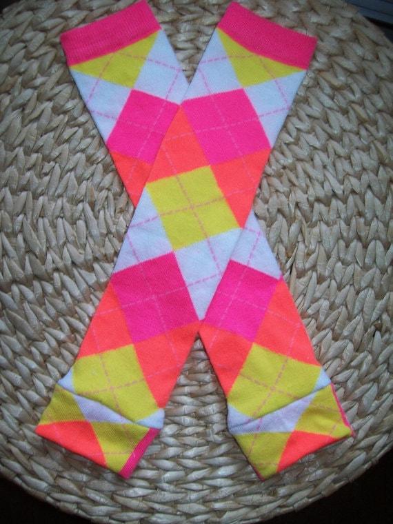 Baby Girl Leg Warmers  Pink Orange Argyle