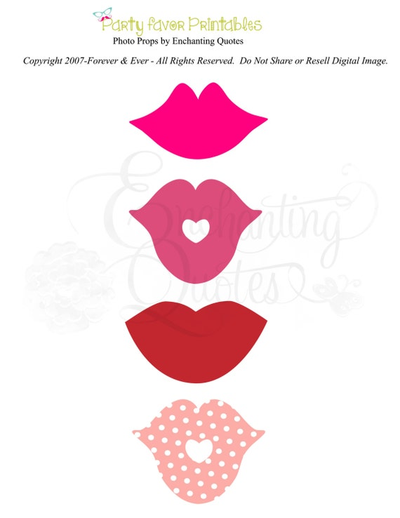 Photo Props Printable Lips Kisses by EnchantingQuotes on Etsy