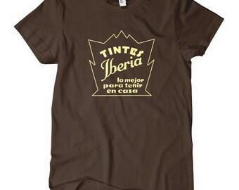 Women's Tintes Iberia T-shirt - S M L XL 2x - Vintage Spanish Sign Ladies' Tee - Art Deco Spain - 3 Colors