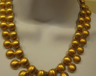 "Fancy good quality vintage gold tone necklace, 19""Long"