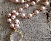 Freshwater pearl and quartz arrowhead pendant necklace