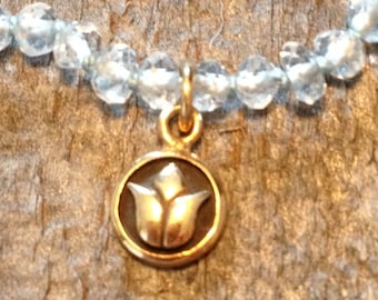 Topaz and lotus flower pendant necklace
