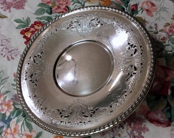 "Wallace Melford 1940s Silver Plate 10"" Round Platter Intricate Detail"