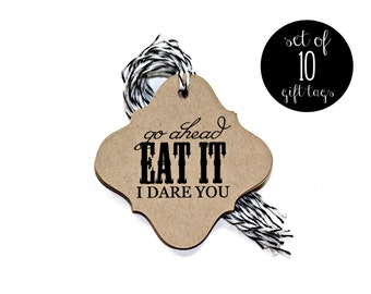 Halloween Gift Tags 'Go Ahead Eat It I Dare You' (Set of 10) - Halloween Tags, Gift Tags, Halloween Gift Tags, Halloween Party