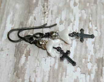 Victorian earrings, Religious Jewelry, Black Cross earrings, Black and white earrings