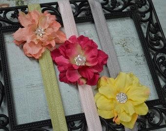 Set of Three Flower Headbands...Newborn Headbands...Baby Headbands...Baby Bows...Photography Prop...Flower Headbands