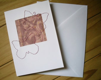 Stitched Greetings Card, Pink Butterfly Card