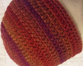 Sunset fitted beanie, crochet red and orange hat, colorful hat, striped beanie, unisex hat, red hat, orange hat, red stripe hat