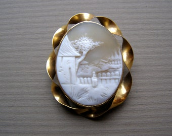 Victorian Carved Cameo Scenic Brooch Gold Ribbon Trim