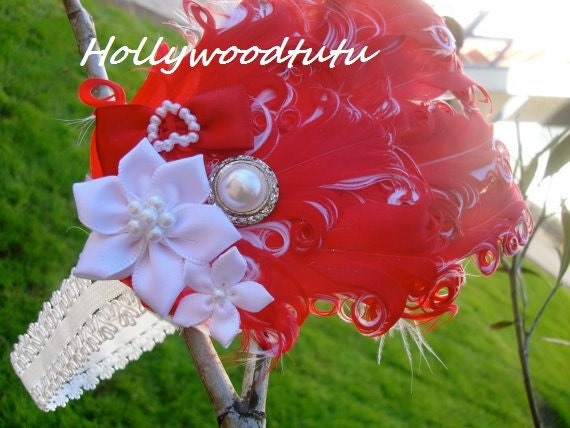 baby girl red curly feather  headband