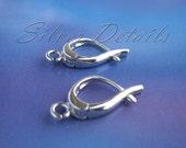 Euro Lever-backs Ear Hooks Sterling Silver 925 Unique Shape model ES96