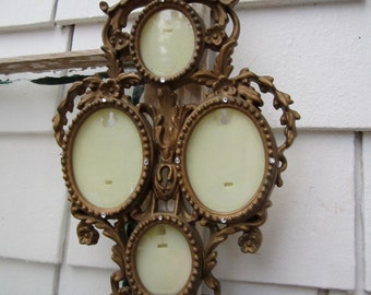Vintage Regency Look Collage Frame Gold Tone Ornate Hong Kong Vintage Rhinestone