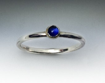 Corundum Sapphire Ring - Stackable Sterling Silver Corundum Sapphire Ring - 3mm Stone