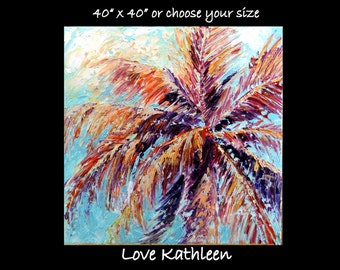 Custom Original  Tropical Palm Tree  Modern Large Beach Ocean Decor Palette Knife Thick Impasto Palm Tree Painting - by Kathleen Fenton