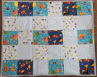 SALE !! Boys baby patchwork quilt, quilted playmat,with diggers,tractors,monsters,rattles blue fabrics,fluffy blue fleece backing,27 x 33 in